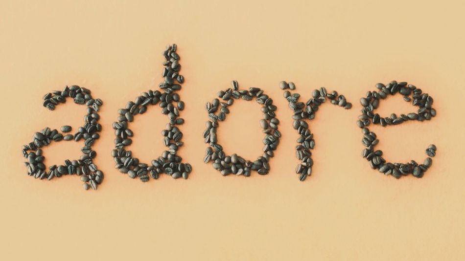'Adore' written in coffee beans Backgrounds Background Coffeelover Word Art Word Beans Coffee Beans Coffee Adore Latte Brown Beautifully Organized