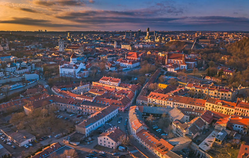 VIlnius city old center from above Architecture Building Exterior City Cityscape Built Structure Cloud - Sky Building High Angle View Sky Crowd Crowded Residential District Aerial View Travel Destinations Roof Outdoors City Life TOWNSCAPE Above Vilnius Panorama Europe Street Red Old Town