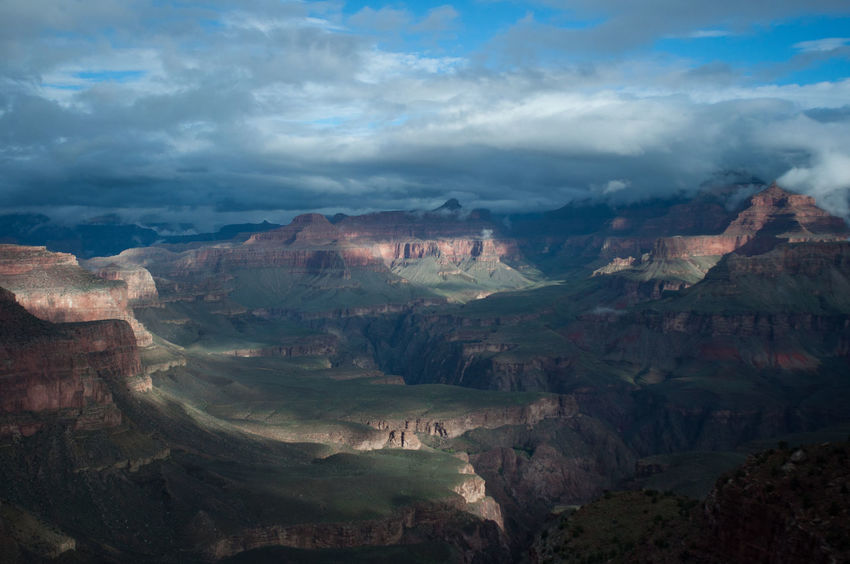 Aerial View Cloud - Sky Cloudy Day Grand Canyon Grand Canyon National Park Green Landscape Nature Outdoors Red Remote Scenics Shadow And Light Shadow And Light Play Sky Tranquil Scene Tranquility Vista Wide Open Spaces