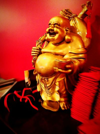 Indoors  Gold Colored Statue Gold No People Sculpture Red Close-up Day Bouda