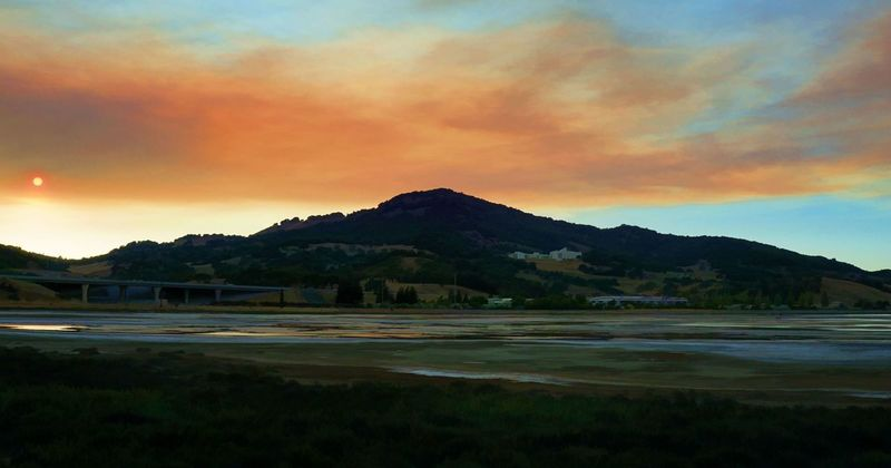 Wildfire sunset over Mt. Burdell in Novato, California Beauty In Nature Cloud - Sky Day Grass Landscape Mountain Mountain Range Nature No People Outdoors Scenics Sky Sunset Tranquil Scene Tranquility Water
