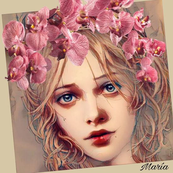 Beauty Flower Blue Eyes Human Face One Person Looking At Camera Artwork By Me Edited By Me