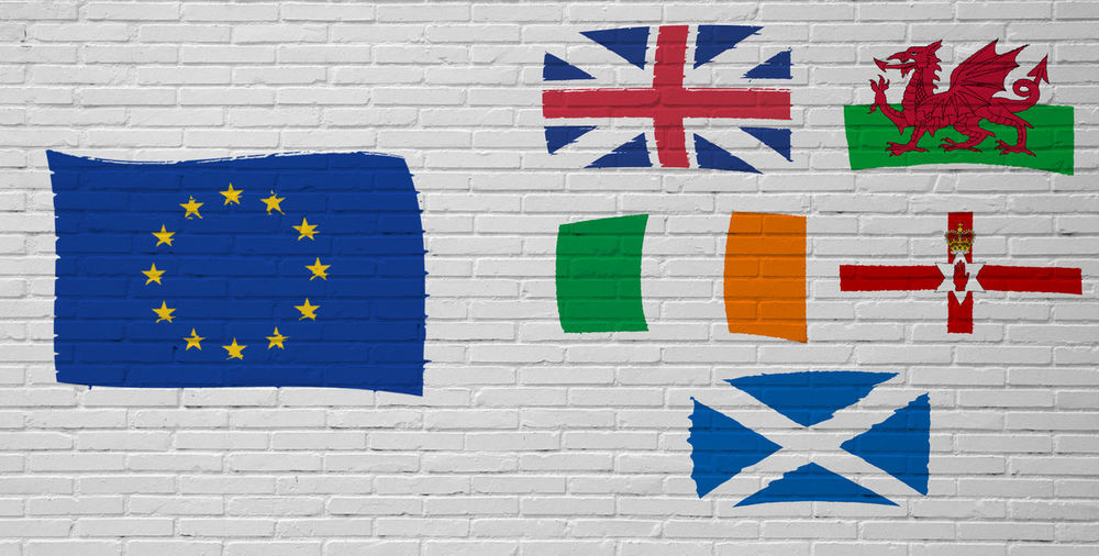 Brexit Yes. Brexit No. Flags of the United Kingdom and the European Union EU Exit Economy European Union Government Ireland London Politics Scotland United Kingdom Wales Brexit Crisis Depending Elections England Europe Exit Flag Future Proposed Referendum Uk