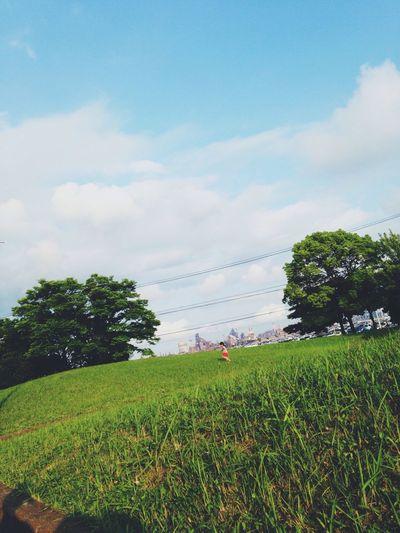 工場と自然と子供 工場 自然 芝生 Natural Hello World Holiday Sunny