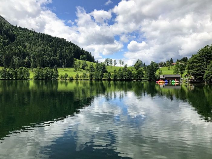 Lake in Upper Austria Lake View Water Cloud - Sky Tree Plant Reflection Sky Lake Beauty In Nature Nature Tranquil Scene Idyllic