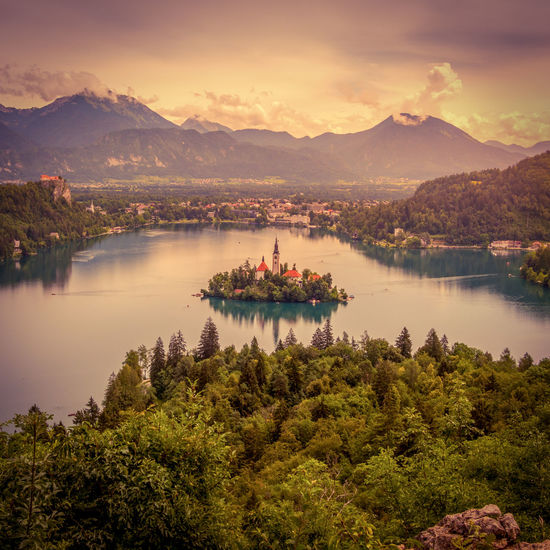 View on lake bled with island and mountain background