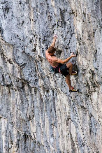 Sport Climbing... Climbing Cragside Rock Climber Rope Extreme Sports Balance Outdoors Cliff Dangerous