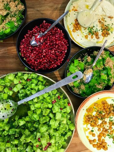 My veganuary feast Chickpeas Pomegranate Colourful Humus Veganuary EyeEm Best Shots Food And Drink Food Healthy Eating Bowl Freshness Wellbeing Kitchen Utensil Vegetable High Angle View Indoors  Directly Above Ready-to-eat Fruit Meal Table Spoon No People