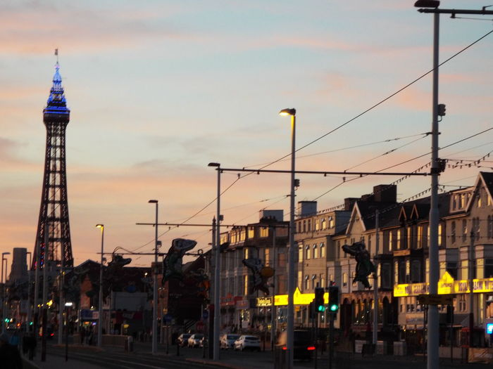 Night Time Late Evening Blackpool Tower Blackpool Seafront Blue Lights  Blue Lights On Blackpool Tower Tourism Tourist Attraction  Tourists Summer Summertime Summer2016 The Essence Of Summer Late Evening Sky