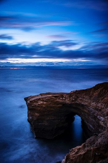 California EyeEm Gallery EyeEm Best Shots Landscape_photography Landscape_Collection Landscape Scenics Sunset_collection Sea Nature Beauty In Nature Scenics Water Rock - Object Rock Formation Horizon Over Water Cloud - Sky Natural Arch Blue