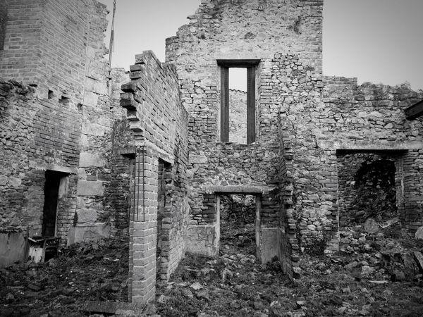 Bomb damage Oradour Sur Glane Ruined Destroyed Ruined Buildings Bomb Damage Memorial