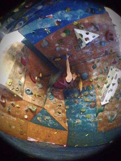 Rock Climbing Girl Bloc Prises Herouville Souplesse Force Muscles