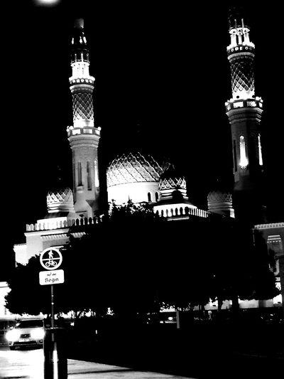 Monochrome Photography Night Architecture Building Exterior Local Landmark Architectural Feature Place Of Worship Dubai❤ Dubai Outdoors Blackandwhite Blackandwhite Photography