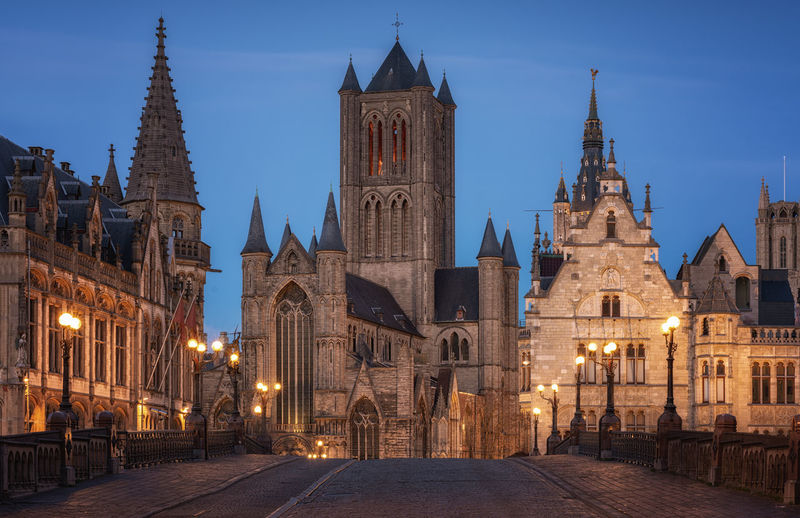 Gent cityscape. blue hour Built Structure Architecture Building Exterior Building Place Of Worship Travel Destinations Illuminated History Dusk Travel Tower No People Gothic Style Gent Belgium Cityscape Blue Hour Bridge Road Tourism Tourist Destination