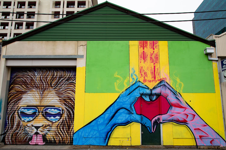Built Structure Architecture Art And Craft Building Exterior Day Multi Colored Representation Creativity No People Human Representation Yellow Graffiti Mural Outdoors Building Wall - Building Feature Wall Lion StreetArtEverywhere Streetart/graffiti