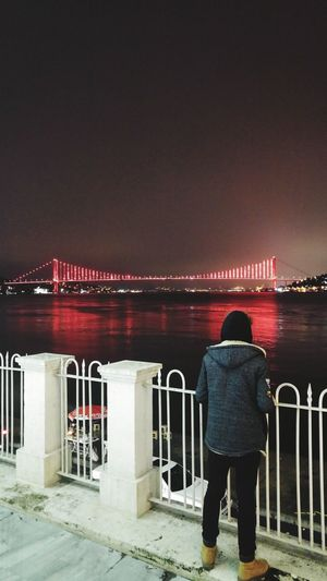 İstanbul Full Length Rear View One Person Railing Standing Sitting Night Men Only Men One Man Only Real People People Outdoors Water Adult Adults Only Sky