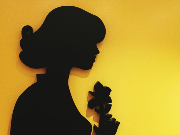 Close-up of silhouette hand holding yellow shadow