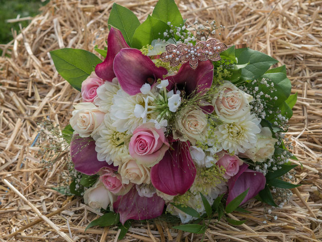 Beauty In Nature Bouquet Brautstrauss Close-up Day Directly Above Flower Flower Head Fragility Freshness High Angle View Hochzeit Indoors  Leaf Nature No People Petal Plant Rose - Flower