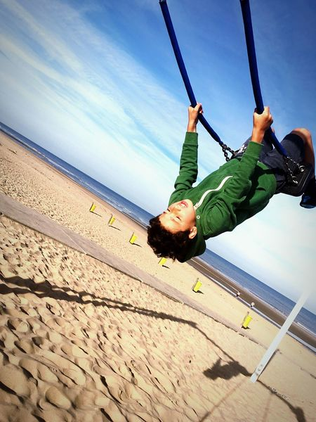 Summer beach swing! Swing Noordwijk Beach Sea And Sky Fun Kids