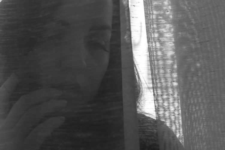 Behind The Curtain Curtain Shines Looking Down Girl Face  Human Face Portrait Girl Portrait Cute Emotions Emotion The Tenderness Tenderness Black And White Monochrome Fashion Pattern Light And Shadow Beauty Beauty In Ordinary Things View Cute View Close-up Full Frame Detail Textured  Curtain Rugged Calm Tranquil Scene