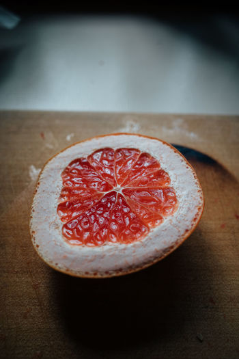 Top view of sliced fresh grapefruit