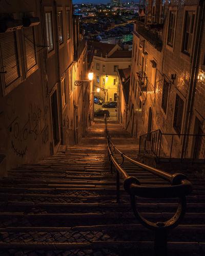 Alone Nightphotography Portugal Stairs Architecture Building Exterior Built Structure City Cityphotography House Illuminated Lisbon Night No People Outdoors Peopleless Residential Building Sky The Way Forward