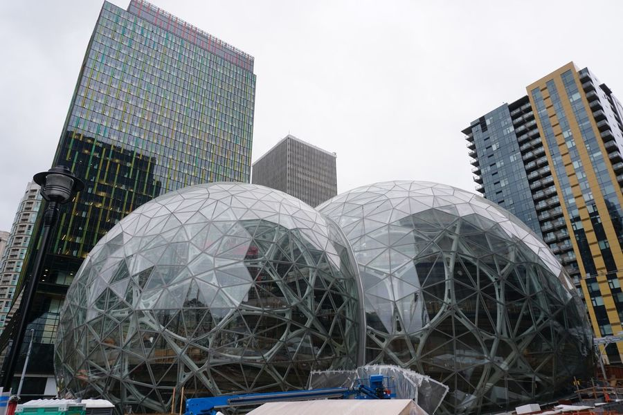 Amazon Architecture Biodome Building Exterior Built Structure City Day Dome Glass Dome Low Angle View Modern No People Outdoors Skyscraper
