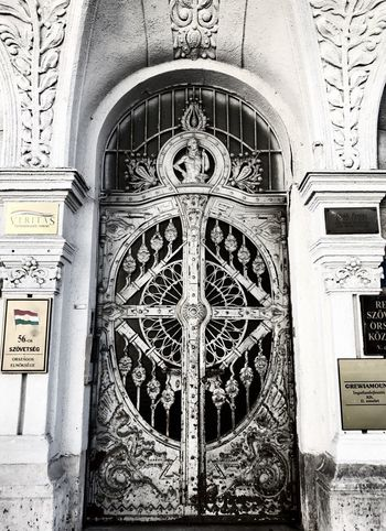 Architecture Day Ornate Built Structure Building Exterior Arch No People Outdoors Low Angle View Bas Relief Place Of Worship Close-up Building Doors White Building Architecture Facade Building Austrohungarian Shotoniphone7 Façade