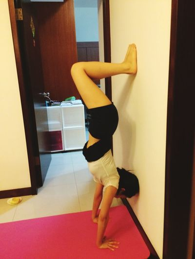I Made It  Finally Handstand  Proud Of Myself Touchdown On The Wall Yoga Girl Breathe