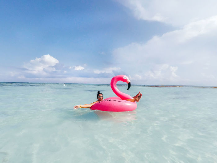 Flamingo Happy Mexico Beach Beauty In Nature Cloud - Sky Day Horizon Inflatable  Inflatable  Leisure Activity Lifestyles Nature Ocean Outdoors Paradise Real People Scenics - Nature Sea Sky Tranquil Scene Tranquility Tropical Water Waterfront