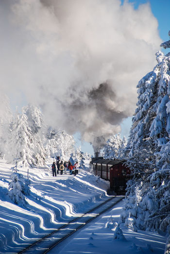 Snow ❄ Beauty In Nature Brockenbahn Cloud - Sky Cold Temperature Day Harz Mountain Nature No People Outdoors Road Sky Snow Steam Train Steamtrain Tree Winter