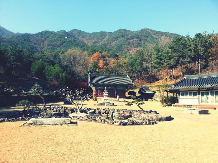 Clear Sky Day Temple Tree Mountain Nature No People Tranquility Beauty In Nature Landscape Sancheong-gun Scenics