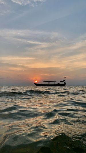 Nature Sea Water Beauty In Nature Cambodia Sky Sunset Nautical Vessel Waterfront Mode Of Transportation Transportation Scenics - Nature Cloud - Sky Tranquil Scene Horizon Over Water Horizon Idyllic No People Outdoors Sihanoukville Sihanouk Ville Province Boat Waves