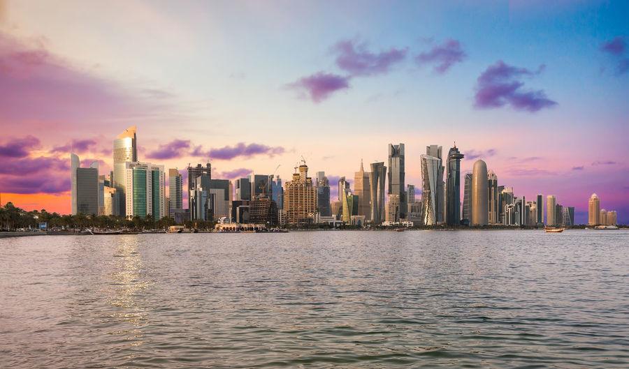 Doha Cityscape At Sunset