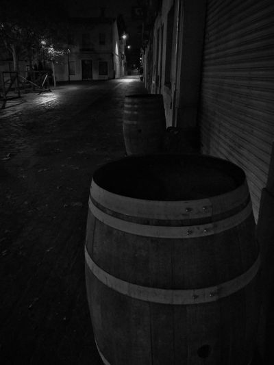 Night is peace. Loneliness is wellcome. Alone In The Street Darkness Autumn B&W 2018 Wine Cask Keg Barrel Cellar Winery Wine Cellar Food And Drink Industry Winemaking Building Exterior