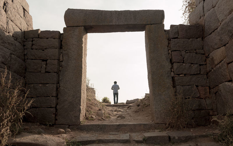The 400 year old mighty fort ... Adult Adults Only Ancient Ancient Civilization Architecture Day Daylight Entrance Full Length Golconda_fort History Hyderabad India Men One Man Only One Person Only Men Outdoors People Person Perspective Real People Taking Photos Telengana Tourist