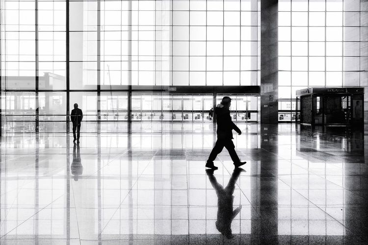 Street Photography Indoors  Real People Architecture Airport Adults Only Black And White China Photos Huawei P9 Photos City Life Architecture Reflection Light And Shadow Street Transportation Shadow Mirror Image Mirror Effect Double Exposure