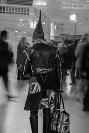 Black Leather Jacket Blurred Motion Crowd Grand Central Station Man In Black Rear View Travel Destinations Welcome To Black