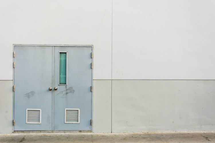 Architecture Built Structure Building Exterior Wall - Building Feature Building Door Closed Entrance Window No People Day White Color Safety Outdoors Protection Security Green Color Copy Space Wall Residential District