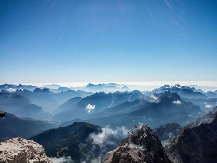 Scenic view of silhouette mountains against blue sky