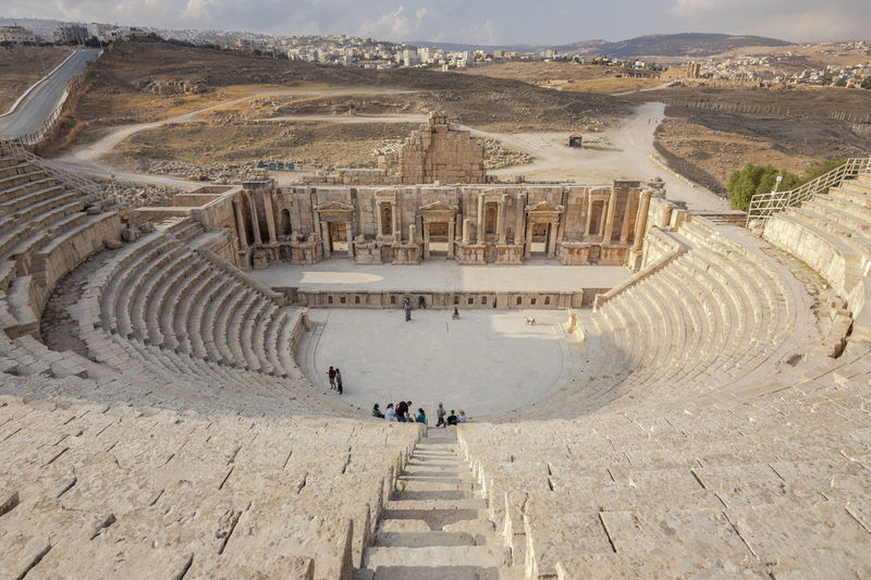 High angle view of the roman theatre of jerash, jordan