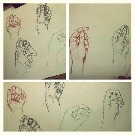 Mais mãos, mais uma aula de desenho. Desenho Mãos Tintadachinha Grafitte esferográfica sanguínea