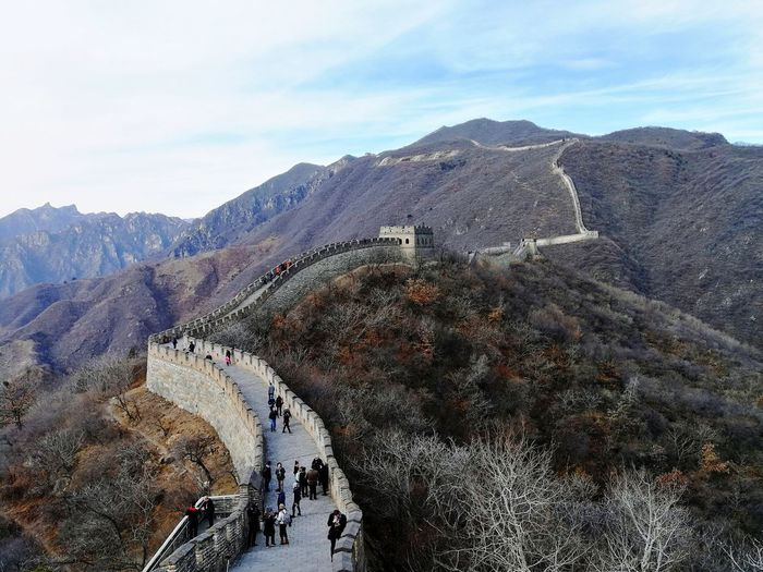 View of Mutianyu Great Wall History Travel Destinations Day Outdoors Ancient Ancient Civilization Mountain Sky Nature People