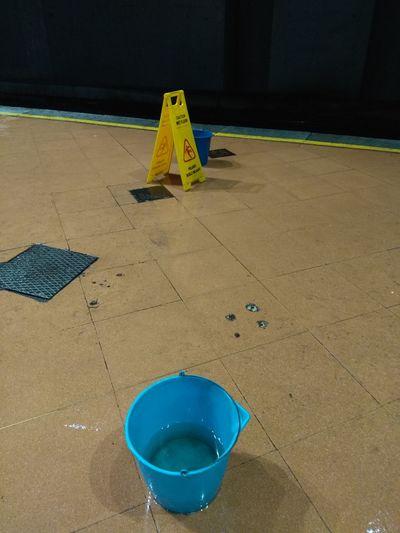 Caution Sign Wet Floor Subway Station Bucket