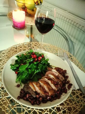 Dinner Dinner Time Salad Food And Drink Wine Food Wineglass Duck Meat