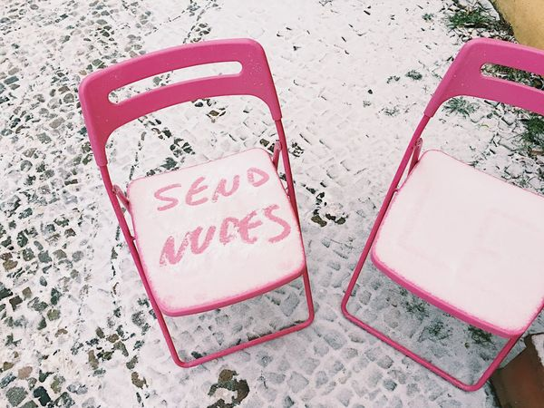 Send Nudes Chair Snow Text Words In The Wild