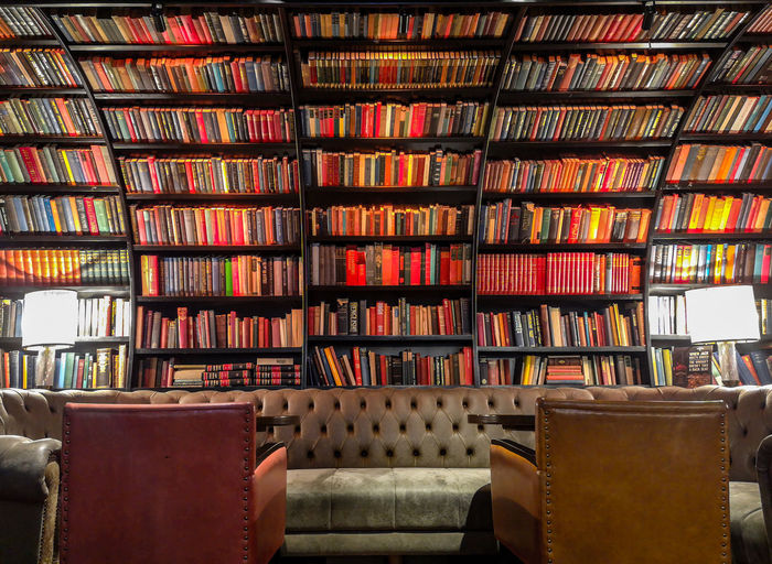 Row of books on table