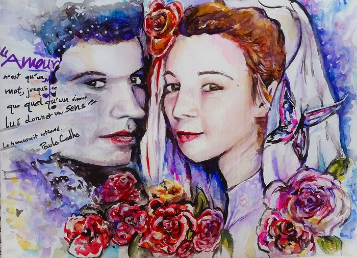 Paint Today ☺ Love Married Colorful Color Portrait Once Upon A Time Command Work In The Paint Watercolor