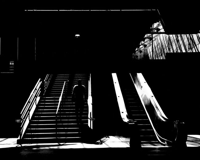 Abstract Architecture Black And White Built Structure Close-up Hand Rail Illuminated Indoors  Low Angle View Night No People One Man Only Staircase Steps Steps And Staircases The Street Photographer - 2017 EyeEm Awards