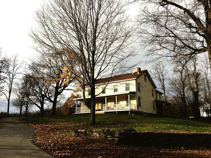 House against sky during autumn